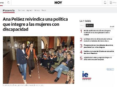 Ana Peláez, consejera de Relaciones Internacionales de la ONCE y comisionada de género del CERMI, en una imagen del periódico Hoy