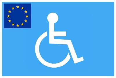 Ilustración de una persona en una silla de ruedas con una bandera de la UE a un lado