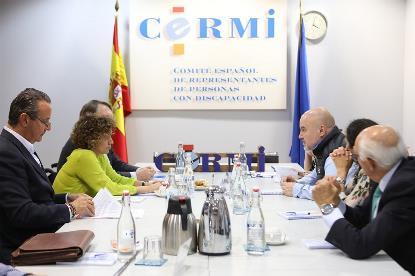 Imagen de la reunión del CERMI con la cabeza de lista del PP al Parlamento Europeo, Dolors Montserrat