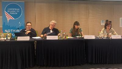Pilar Villarino, directora ejecutiva del CERMI, en una mesa redonda celebrada en el seminario sobre la Cedaw, durante la Asamblea del EDF