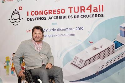 El presidente de Predif, Fran J. Sardón, en la presentación del I Congreso Internacional TUR4all de Destinos Accesibles de Cruceros