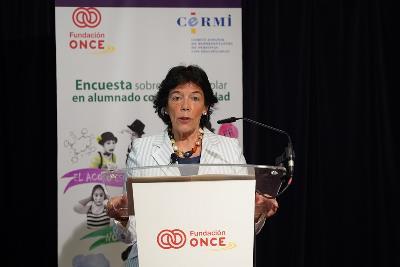 Isabel Celaá, ministra de Educación y Formación Profesional en funciones, en la presentación del estudio 'Acoso y ciberacoso' elaborado por Fundación ONCE y el CERMI