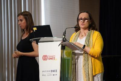 Sabina Lobato, directora de Formación y Empleo, Operaciones y Transformación de Fundación ONCE, en la presentación del estudio 'Acoso y ciberacoso' elaborado por Fundación ONCE y el CERMI