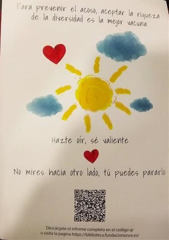 """Hazte oír, sé valiente. Eslogan y dibujo infantil realizado para la presentación de la guía """"Acoso y ciberacoso escolar en el alumnado con discapaci"""