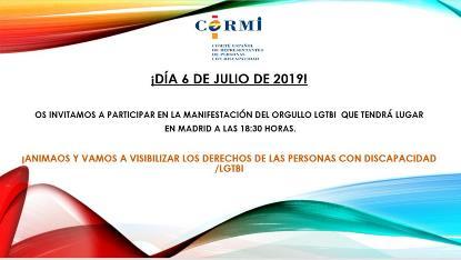 Invitación del CERMI a participar en la manifestación del orgullo LGTB
