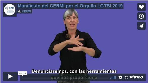 Imagen que da paso a la Grabación audiovisual íntegra del Manifiesto del CERMI por el Orgullo LGTBI 2019