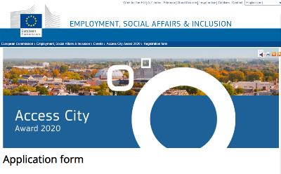 """Detalle de la web de la Comisión Europea donde anuncia el premio """"Capital europea de la accesibilidad 2020"""""""