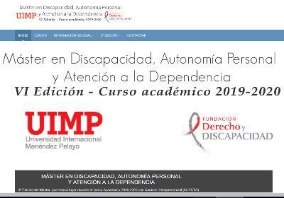 """Detalle de la web de la Fundación Derecho y Discapacidad anunciando la VI edición del máster """"Discapacidad, autonomía personal y atención a la dependencia"""","""