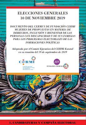 Documento del CERMI y de Fundación CERMI Mujeres de propuestas en materia de derechos, inclusión y bienestar de las personas con discapacidad y de sus familiares para los Programas Electorales de las