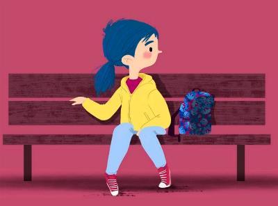 Imagen del cuento 'Marcela, la inventora de palabras' donde se ve a Marcela sola en un banco