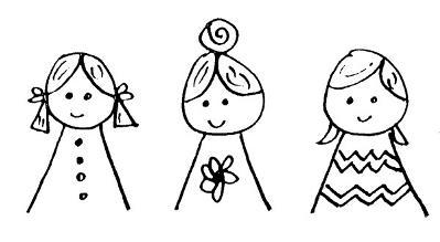 Dibujo a lápiz de tres niñas