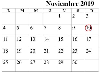 Calendario con el 10 de noviembre señalado en rojo