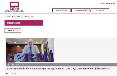 Imagen de la web de la radio autonómica de Castilla-La Mancha con el podcast  de la entrevista al presidente del CERMI, Luis Cayo Pérez Bueno