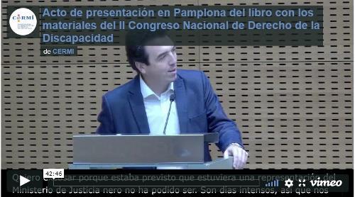 Imagen que da paso a la Grabación audiovisual íntegra del acto de presentación en Pamplona del libro con los materiales del II Congreso Nacional de Derecho de la Discapacidad