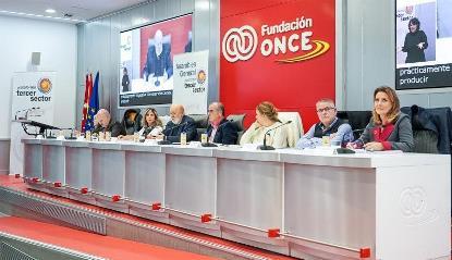 Representantes de la PTS durante el encuentro celebrado en Fundación ONCE