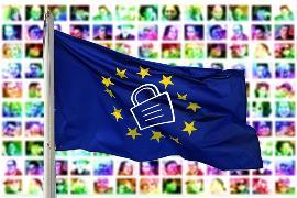 Bandera de la UE, con un candado dibujado en el centro de la misma.