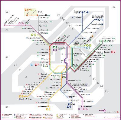 Plano de Cercanías de Madrid.
