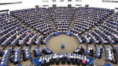Fotografía del hemiciclo del Parlamento Europeo.