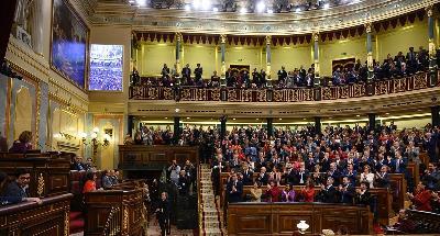 Imagen del Congreso de los diputados en la sesión de investidura de Pedro Sánchez