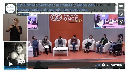 Imagen que da paso a la grabación audiovisual accesible íntegra de 'En primera persona: las niñas y niños con discapacidad afirmando sus derechos'