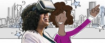 Dibujo de dos mujeres sonriendo, mientras una de ellas usa gafas de realidad virtual.