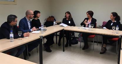 Imagen de la reunión de la delegación de la Fundación CERMI Mujeres con la Secretaría de Estado de Derechos Sociales