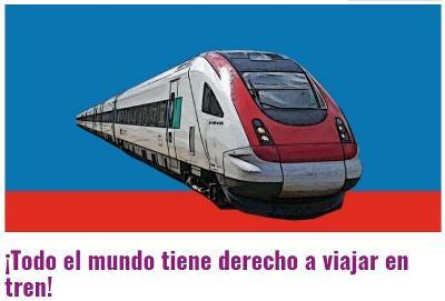 Imagen de un tren en la web que promueve la firma, con el lema: 'Todo el mundo tiene derecho a viajar en tren'