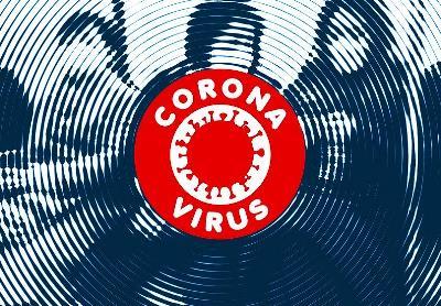 Personas en un transporte público y sobre ellas una ilustración de un virus