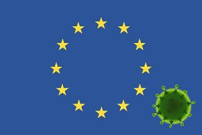 Bandera de la UE y en una esquina una imagen del coronavirus