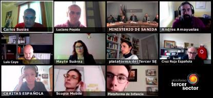 Imagen de la reunión telemática de la Plataforma del Tercer Sector
