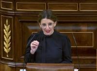 La ministra de Trabajo y Economía Social, Yolanda Díaz, durante su intervención en el Congreso de los diputados