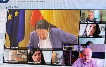 Imagen de la reunión telemática con Pablo Iglesias sobre la regulación del ingreso mínimo vital
