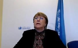 la Alta Comisionada de los Derechos Humanos de Naciones Unidas, Michelle Bachelet en un momento de la videoconferencia