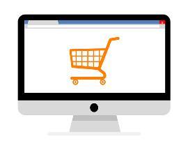 ilustración de un carrito, sobre compra digital y entrega a domicilio