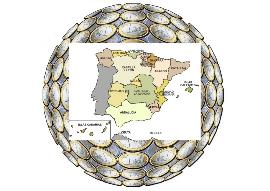 Ilustración con un mapa de las comunidades autónomas y de fondo una gran bola con dinero
