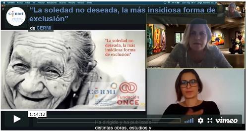 """Imagen que da paso a la Grabación audiovisual accesible del seminario web """"La soledad no deseada, la más insidiosa forma de exclusión"""""""