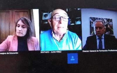 Imagen de la videoconferencia de la consejera de Educación de Castilla y León, Rocío Lucas, con el presidente del CERMI Castilla y León