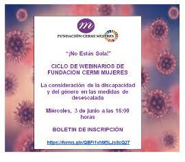 Imagen del cartel de anuncio del webinario de la Fundación CERMI Mujeres
