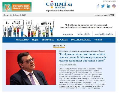 Imagen de la portada del boletín 394 del CERMI