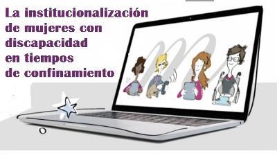 Ilustración de la web de la Fundación CERMI Mujeres con un ordenador y mujeres con discapacidad en la pantalla del mismo