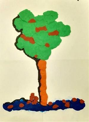 Primera obra de Cristina de Diego, el árbol de plastilina