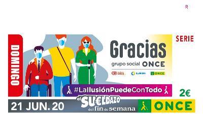 Imagen del cupón especial del domingo, con la frase: Gracias Grupo social ONCE