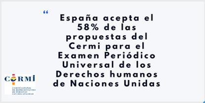 España acepta el 58% de las propuestas del CERMI para el Examen Periódico Universal de los Derechos humanos de Naciones Unidas