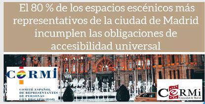 El 80% de los espacios escénicos más representativos de la ciudad de Madrid incumplen las obligaciones de accesibilidad universal