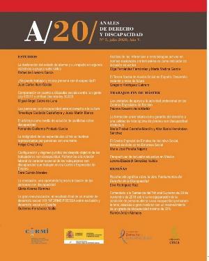 Portada de Anales de Derecho y Discapacidad 2020. Volumen V