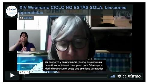 Imagen que da paso a la grabación audiovisual del XIV Webinario 'Ciclo no estás sola'. Lecciones aprendidas