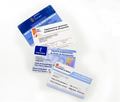 Tarjetas o certificados de discapacidad