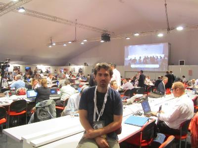 Mario en la sala de prensa de los Juegos.