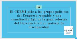 El CERMI pide a los grupos políticos del Congreso respaldo y una tramitación ágil de la gran reforma del Derecho Civil en materia de discapacidad