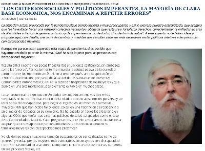 Imagen de la entrevista con Álvaro García Bilbao, presidente de la Comisión de Envejecimiento Activo del CERMI